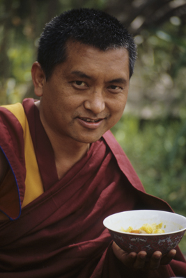 Lama Zopa Rinpoche at Tushita Meditation Centre, Dharamsala, 1987. Photo: Robin Bath.