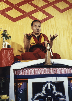 Lama Yeshe at Grizzly Lodge, California, 1980. Photo: Tom Waggoner.