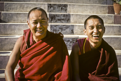 Lama Yeshe and Lama Zopa Rinpoche, Kopan Monastery, Nepal, 1980. Photo by Robin Bath.