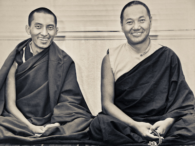 Lama Yeshe and Lama Zopa Rinpoche in Waikanae, New Zealand, 1975.