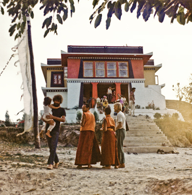 Lama Yeshe with Sister Max Mathews and students during the Fourth Meditation Course, Kopan Monastery, Nepal, 1973. Photo by Christine Lopez.