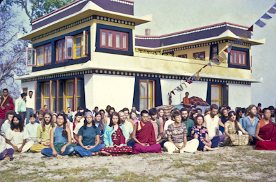 Lama Zopa Rinpoche with participants at the Fourth Kopan Meditation Course, Nepal, 1973.