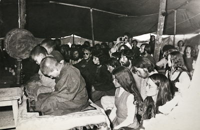 Mount Everest Centre students and other retreatants during the Fifth Meditation Course at Kopan Monastery, Nepal, 1973.