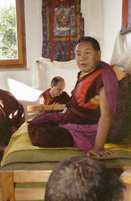 Lama Yeshe addressing Western monks and nuns at Istituto Lama Tzong Khapa, Italy, 1983. Nick Ribush in background.