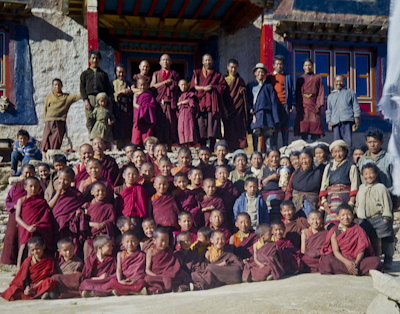 Lama Yeshe with the Mount Everest Centre students at Lawudo Retreat Center, Nepal, 1974.
