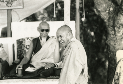 Lama Yeshe and His Holiness Zong Rinpoche at the 6th Kopan Course in April 1974. Photo from the collection of Francesco Prevosti. Photographer unknown.