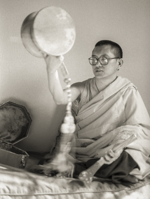 Rinpoche doing chod offering practice at Jamyang Buddhist Centre (formerly Manjushri London) London, 1983. Photo by Robin Bath.