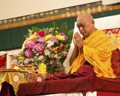 Lama Zopa Rinpoche at Light of the Path retreat, North Carolina, USA, 2014. Photo: Roy Harvey.