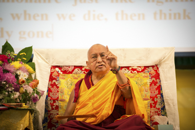 Lama Zopa Rinpoche at the Light of the Path Retreat, North Carolina, USA, May 2014. Photo: Roy Harvey.
