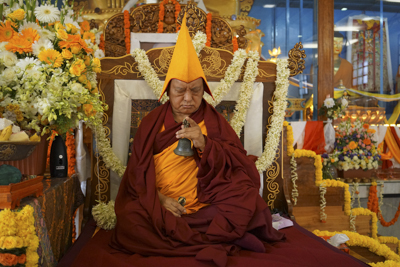 Lama Zopa Rinpoche at Sera Je Monastery, India, 2014. Photo: Bill Kane.