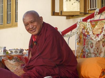 Lama Zopa Rinpoche at IMI House, Sera Je Monastery, Mysore, India, 2014. Photo: Ani Thubten Pema.