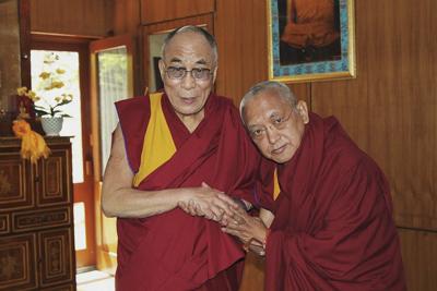 His Holiness the Dalai Lama and Lama Zopa Rinpoche.
