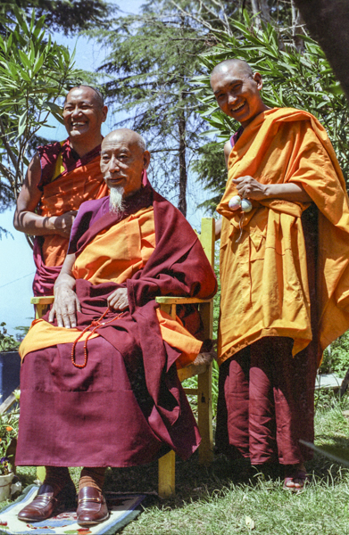 Lama Yeshe, HH Zong Rinpoche and Lama Zopa Rinpoche at EEC1, Dharamsala, India, 1982.