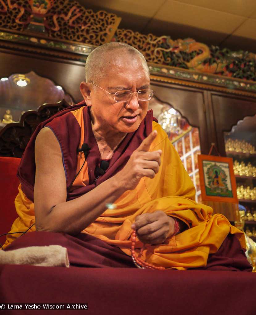 Lama Zopa Rinpoche teaching in Hong Kong, 2010. Photo by Thubten Kunsang (Henri Lopez).