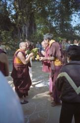 Lama Yeshe arriving at Kopan Monastery for final teaching, Nepal, 1983. Photo: Wendy Finster.