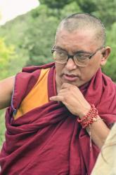 Lama Zopa Rinpoche at Chenrezig Institute, Australia, 1991.  Photo: Thubten Yeshe (Augusta Alexander).