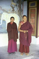 Lama Yeshe and Lama Zopa Rinpoche on the veranda at Tushita Retreat Centre, Dharamsala, India, 1973. From the collection of Adele Hulse.