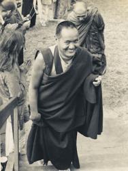Lama Yeshe and Somdet Phra Nyanasamvara entering the Chenrezig Institute gompa, Australia, 1975.