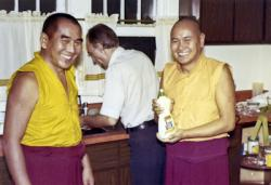 Geshe Sopa and Lama Yeshe with Elvin Jones, in Madison, Wisconsin, 1975. Photo by George Propps.