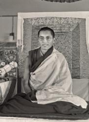 Lama Zopa Rinpoche teaching at Chenrezig Institute, Australia, 1976.