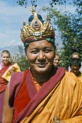 Lama Yeshe wearing a ceremonial crown of the five dhyani buddhas, Kopan Monastery, Nepal, 1976.