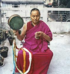 Lama Yeshe practicing chöd on the roof of his Tara Hotel, Darjeeling, 1982. From Big Love: The Life and Teachings of Lama Yeshe