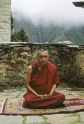 Lama Zopa Rinpoche at Lawudo Retreat Center, Nepal, 1990. Photo: Merry Colony.