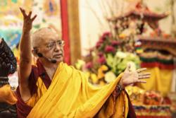 Lama Zopa Rinpoche teaching in Singapore, 2010. Photo: Tan Seow Kheng.