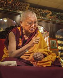 Lama Zopa Rinpoche teaching in Hong Kong, 2010. Photo by Ven. Thubten Kunsang (Henri Lopez).
