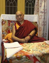 Lama Zopa Rinpoche at Sera Je Monastery, India, 2013. Photo by Bill Kane.