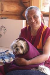 Lama Zopa Rinpoche at Buddha Amitabha Pure Land, Washington State, USA, 2003.
