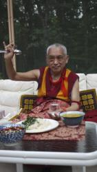 Lama Zopa Rinpoche in LYWA's back yard, Lincoln, Massachusetts, 2010.