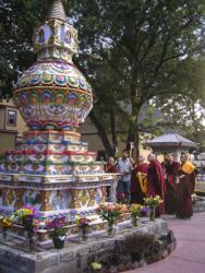 Lama Zopa Rinpoche with Geshe Tsulga blessing the Kalachakra stupa at Kurukulla Center, Massachusetts, 2010.