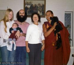 (07645_pr-2.psd) Lama Yeshe with the Ribush family, 1975. From left: Alison Ribush holding Kalu, Dorian Ribush, Beatrice Ribush and Lama Yeshe holding Bobik. Melbourne, Australia, 1975. Photo by Nick Ribush.