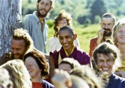 (10378_pr-2.psd) Lama Zopa Rinpoche with the students, 1975. On Saka Dawa (the celebration of Buddha's birth, enlightenment, and death), Lama Yeshe asked everyone to come outside after a Guru Puja for a meditation on the hill behind the gompa. Chenrezig Institute, Australia, May 25, 1975. Photo by Wendy Finster.