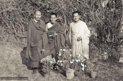 Portrait photo of Geshe Thubten Tashi, Lama Zopa Rinpoche and Lama Yeshe taken at Kopan Monastery at the end of the first meditation course, Nepal, 1971. Photo by Fred von Allmen.