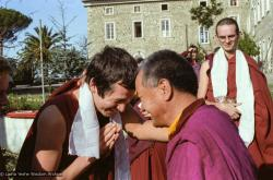 (15248_ng.tif) Lama Yeshe with Steve Carlier as Francesco Prevosti looks on. Istituto Lama Tzong Khapa, Italy, 1983. Photos donated by Merry Colony.