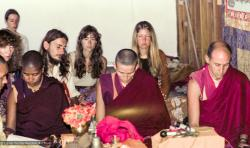 (15919_ng.tif) Sister Max Mathews, Anila Ann, and Nick Ribush doing puja. Gloria Searle is the brunette near the back wall. From the collection of images of Lama Yeshe, Lama Zopa Rinpoche and the Sangha during a month-long course at Chenrezig Institute, Australia, 1975