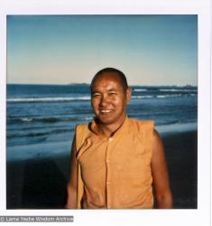 (15927_pr.psd) Lama Yeshe dancing/debating on the beach after the month-long course at Chenrezig Institute, Australia, 1975. Photo by Anila Ann.