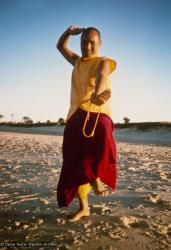 (15929_pr.psd) Lama Yeshe dancing/debating on the beach after the month-long course at Chenrezig Institute, Australia, 1975. Photo by Anila Ann.