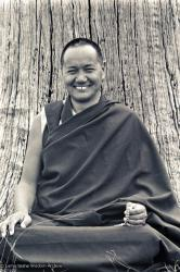 (15961_ng.tif) Portrait of Lama Yeshe, 1975. With the idea of commissioning a statue of Lama Yeshe, Mummy Max (Max Matthews) arranged for a series of shots taken just of his head from every angle, as well as photos of Lama in meditation posture. Photo taken on Saka Dawa (the celebration of Buddha's birth, enlightenment, and death) at Chenrezig Institute, Australia, 1975. Photo donated by Wendy Finster.