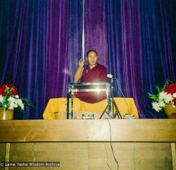 (15976_ng.tif) Lama Yeshe giving a public talk, Adyar Theater, Sydney, Australia, 8th of April, 1975.