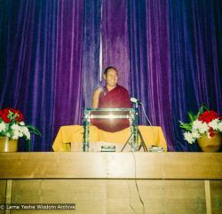 (15977_ng.tif) Lama Yeshe giving a public talk, Adyar Theater, Sydney, Australia, 8th of April, 1975.