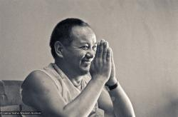 Lama Yeshe teaching at University of California's Oakes College on the Santa Cruz campus, 1978. Photo by Jon Landaw.