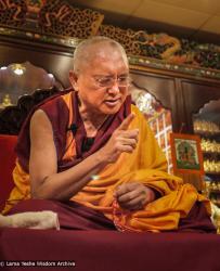 Lama Zopa Rinpoche teaching in Hong Kong, 2010. Photo by Thubten Kunsang (Henri Lopez).