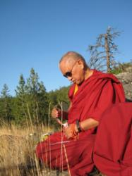 Lama Zopa Rinpoche blessing land in Washington state, USA, 2008. Photo by Holly Ansett.