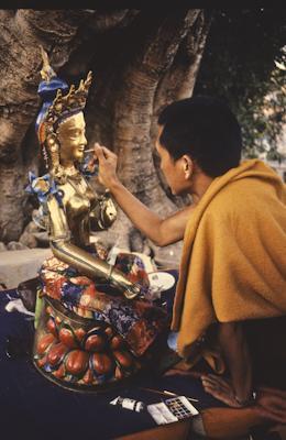 Lama Zopa Rinpoche painting Tara, Kopan Monastery, Nepal, 1976. Photo: Peter Iseli.