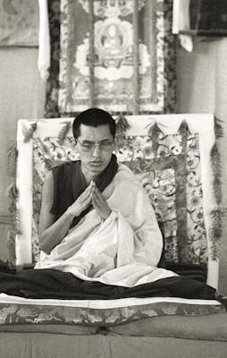 Lama Zopa Rinpoche teaching during the Ninth Meditation Course, Kopan Monastery, Nepal, 1976.