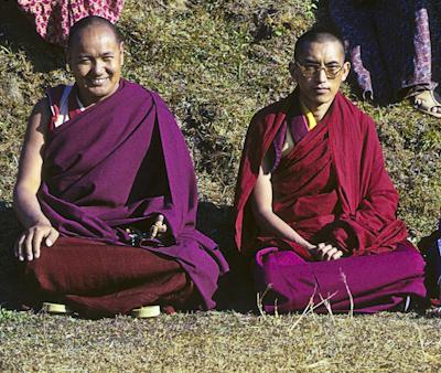 Lama Yeshe and Lama Zopa Rinpoche at  the 8th Meditation Course, Kopan Monastery, Nepal, 1975.