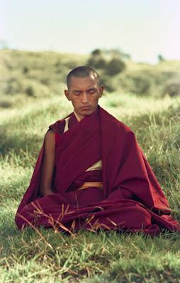Lama Zopa Rinpoche in meditation on Saka Dawa at Chenrezig Institute, Australia, May 25, 1975. Photo: Wendy Finster.